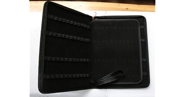 Black Color Leather Elegant 48 Slots Large Capacity Fountain Pen Case Pouch Bag