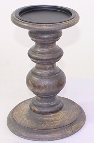 Hosley Grey Wooden Pillar Candle Holder - Country style, 7'' High. Ideal Gift for Wedding, Party, Special Occasion or as a Candle Holder. W1 by Hosley