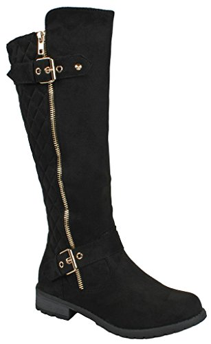 Forever Mango-21 Women's Winkle Back Shaft Side Zip Knee High Flat Riding Boots Black Nubuck 7 by JJF Shoes