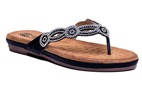(Gc Shoes Women's Rhinestone Memory Foam Thong Comfort Flat Sandals (8.5 B(M) US, Black LN))