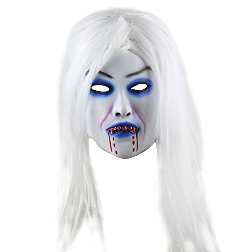 Sadako Costume (Halloween Horror Costume party Props Long Hair Demon The Ring Mask(bleed woman))