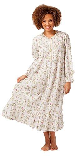 La Cera Women's Button-Front Woven Robe M Blooming Vines