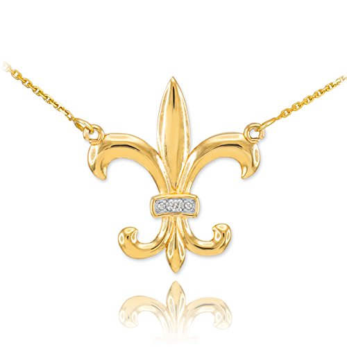 Fleur De Lis 14k Necklace (14k Yellow Gold Diamond-Accented Fleur-de-Lis Pendant Necklace, 16