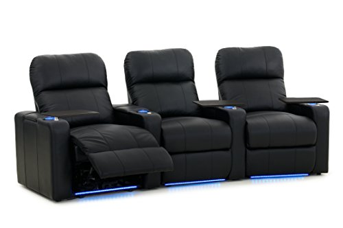 Octane Turbo XL700 Row of 3 Seats, Curved Row in Black Leather with Power Recline