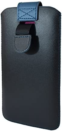 Emartbuy Negro/Oscuro Azul Premium PU Cuero De La Diapositiva En La Funda De La Bolsa Caso Titular De La Cubierta (Talla 4XL) Compatible con Smartphones Enumerados Abajo: Amazon.es: Electrónica