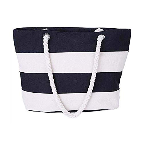 Pocket With Black Color Rope Stripes Handles Design Shoulder Zipper Tote Simple Stitching Handbag Canvas Zhengyue Bag Beach School Inner Shopping Women PURX48