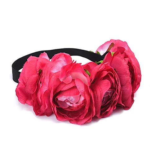 Lijuan Qin Simulation Elastic Cloth Fabric Floral Crown Garland Headpiece Headband, Flower Wreath Headband for Mom Daughter Travel Holiday Photo Shoot Hair -