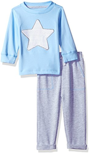 Isaac Mizrahi Baby Boys' 2 Pc Round Neck L/s Tee with Cotton French Terry Pant Set, Star Blue, 12 Months