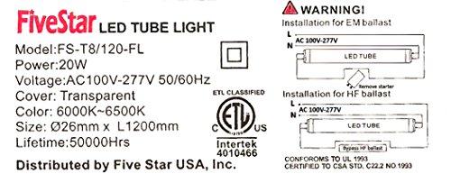 5star lights t8 led light tube 20w(60w equivalent), 6000k daylight LED Light Wiring Diagram t8 led tube light wiring diagram