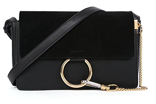 lacattura-womens-genuine-leather-chain-nubuck-flap-shoulder-bag-black