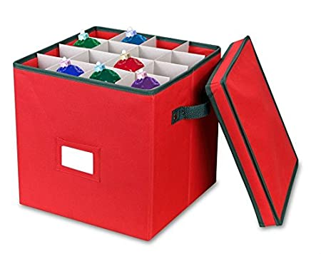 Christmas Ornament Storage Box With Lid   Adjustable Dividers   Holds Up To  64 Round Ornaments