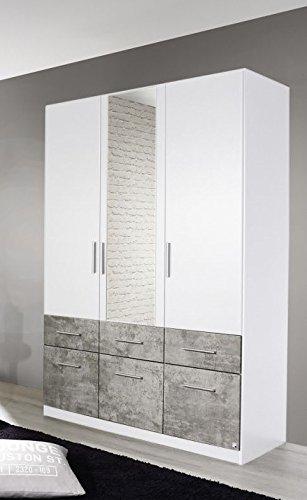 Kleiderschrank weiß / grau 3 Türen B 136 Schrank Drehtürenschrank ...