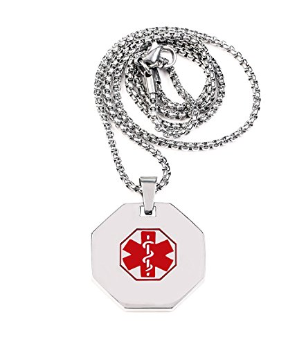 Stainless Steel Medical Alert ID Necklace Pendant Silver Chain 24in (Free Engraving)