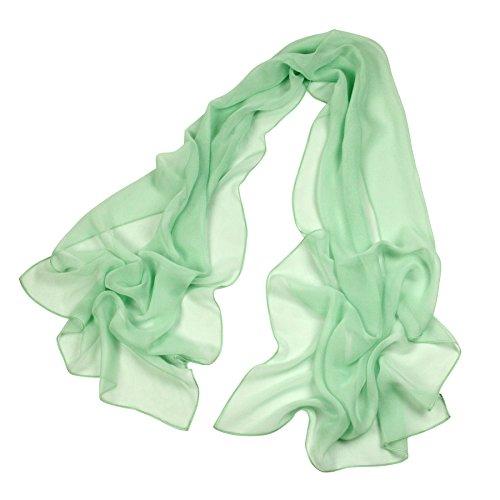 Green Chiffon Scarf - Long Chiffon Sheer Scarf For womens - PANTONIGHT FL001 2018 New Design for All Seasons Shaded Color Lightweight (light green S)