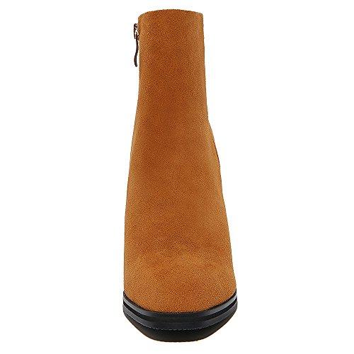 Alti Nove Sette Stivaletti Mano Marrone A Di Classico Tacco Donne Comfort Punta Quadrata Cuoio Caviglia Squisito Camoscio wPAvx8z