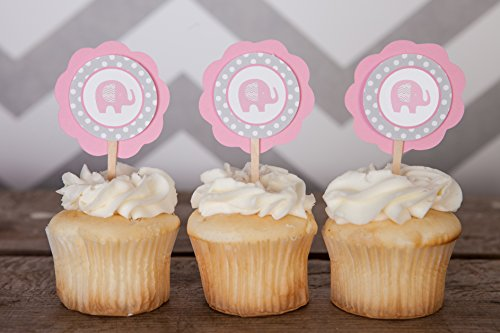 Elephant CUPCAKE TOPPERS - Pink & Grey Cupcake Toppers - Birthday Party or Baby Shower Decorations (12 pack)