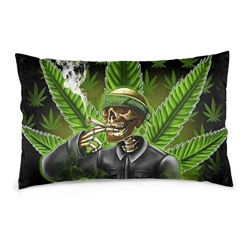 Tidyki Green Marijuana Leaf Weed Skull Throw Pillow Cover Cushion Cover Rectangular Pillowcase for Couch Sofa Bedroom Bed Decoration 16″x24″