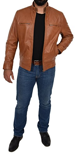 bronceador estilo ajustada para Biker hombres Felix cremallera Chaqueta dulce Casual capa de genuino cuero qFwxFH
