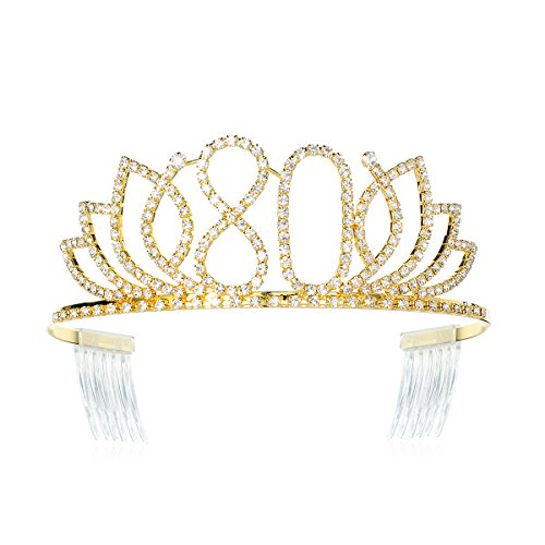DcZeRong Queen 80 Birthday Tiara Women 80th Birthday Crown Gold Rhinestone Crystal Diamond Crown]()