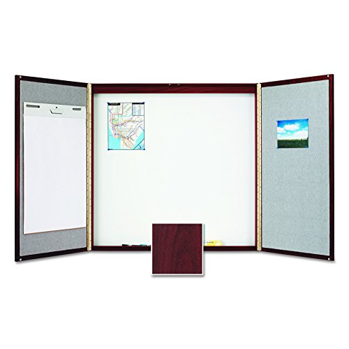 - Quartet Conference Room Cabinet with Porcelain Writing Surface, 4 x 4 Feet, Mahogany Laminate Finish (878)