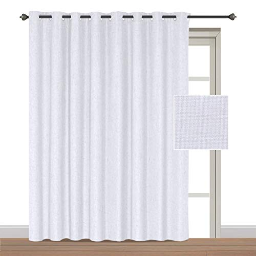 Panel Top Sliding (H.VERSAILTEX Wide Outdoor Thermal 100% Blackout Patio White Curtain Panel Waterproof Sliding Door Curtains with Anti Rust Grommet Top, Decorative Room Divider, 100W by 84L inches/ 8.3'W x 7'L - White)