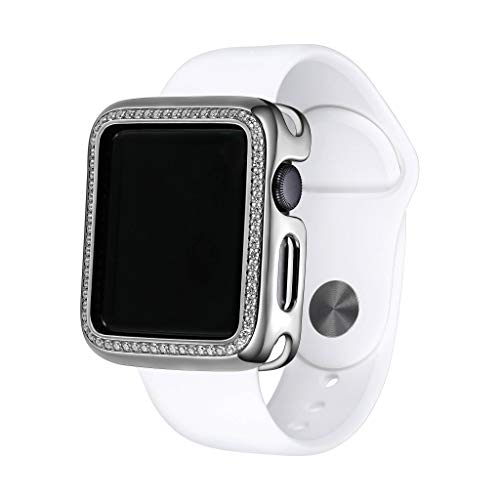 - 14K/18K Gold or Rhodium Plated Jewelry-Style Apple Watch Case with Swarovski Zirconia CZ or Spinel Border - Color & Size Options (White Rhodium, 40)