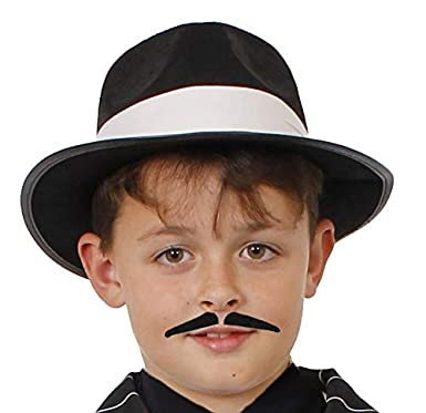 42b16647d4a09a ILOVEFANCYDRESS® Childs Gangster HAT Black White Trilby Fedora Fancy Dress  Accessory 56CM Circumference Kids Dance Show HAT (Black HAT with White Band):  ...