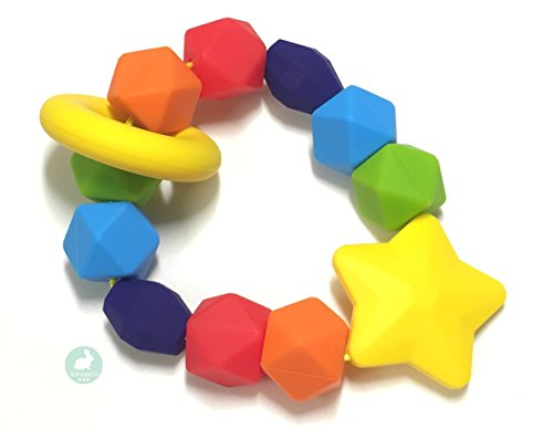 Baby Teether by Blue Rabbit Co, Rainbow Sensory Pure Silicone Teething Ring, BPA Free, 1 Pack (Plastic Teether)