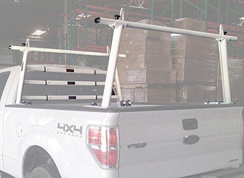 AA-Racks Model APX25-WG Aluminum Headache Rack Universal Pickup Truck Rack with 3 Bar Protector Rear Window Guard Back rack - Sandy White