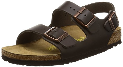BIRKENSTOCK Milano Womens Dark brown Leather Sandals 39 EU (6-6.5 R US Men/8-8.5 R US Women) (Birkenstock Milano Leather)