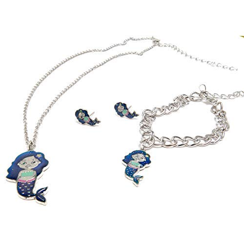 Earrings Gift Present Necklace - FROG SAC Mood Bracelet Necklace and Earrings Gift Box for Girls Kids Tween 3 PCs Set - Color Changing Fashion Jewelry Set - Great as Party Favors, Valentine's Day, Girl Birthday Present (Mermaids)