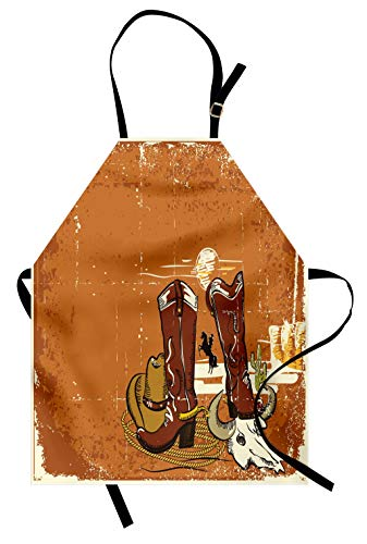 Lunarable Western Apron, Wild West Theme Elements Cowboy Shoes Rope and Hat Grunge Vintage Display, Unisex Kitchen Bib Apron with Adjustable Neck for Cooking Baking Gardening, Orange Redwood Ivory