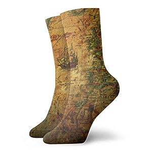 Sggual Mapamundi antiguo Calcetines Calcetines Zapatillas deportivas para hombre con cojín para deportes y calcetines casuales Longitud 11.8 pulgadas