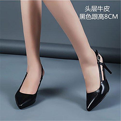 Vivioo Hoge Hakken Hoge Hakken Sandalen Voorjaar Baotou Hooggehakte Sandalen Vrouwelijke Witte Wees Schoenen Met Hoge Hakken Na De Lucht Met Fijne Schoenen Zwart 8cm