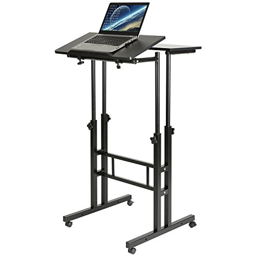 DOEWORKS Mobile Stand Up Desk Height Adjustable Computer Work Station Home Office Desk with Wheels,Black