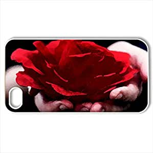 Blood Red RosCase For Ipod Touch 4 Cover (Flowers Series, Watercolor style, White)