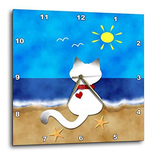 - 3dRose dpp_182624_1 Cute Siamese Kitty Cat Summer Beach Time Fun-Wall Clock, 10 by 10-Inch