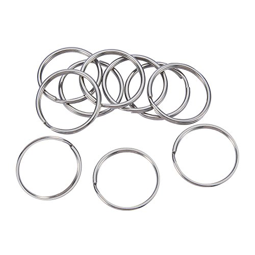 Ring Key Metallic (NBEADS 10PCS 304 Stainless Steel Round Edged Split Circular Ring Key Rings Keychain Ring Clips for Car Home Keys Organization, Arts & Crafts -1.4
