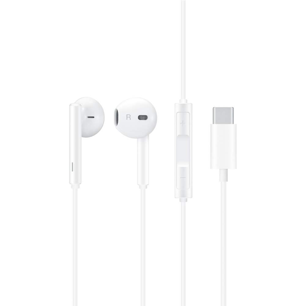 Genuine Huawei CM33 USB Type C Handsfree Earphones with Remote and Microphone for Huawei Mate 20 Pro / P20 / P20 Pro - 55030088 - White (Bulk, Frustration Free Packaging)