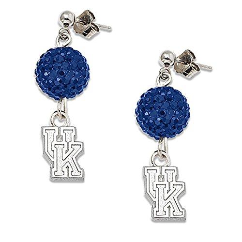 Lex & Lu LogoArt Sterling Silver Univ Of Kentucky Crystal Ovation Earrings