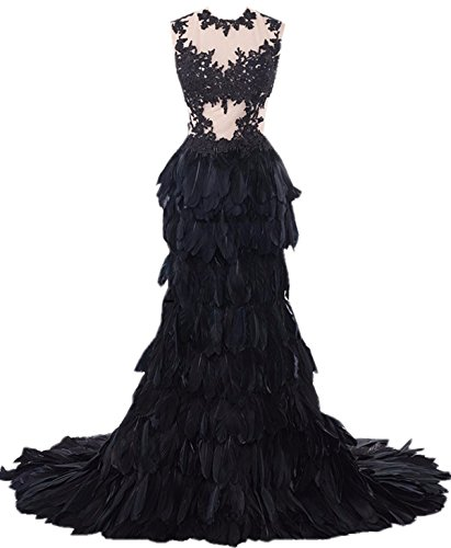 Heartgown Women's Sheer Lace Feather Ruffles Sweep Train Organza Gothic Wedding Dress Black US12