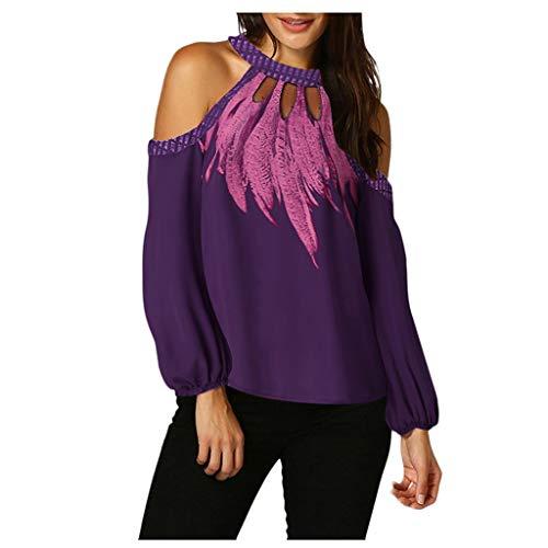 Dames sweatshirt, schoudervrij, hemd, ronde hals, veer, bedrukt, tops, lange mouwen, sexy blouse, trui voor herfst en…