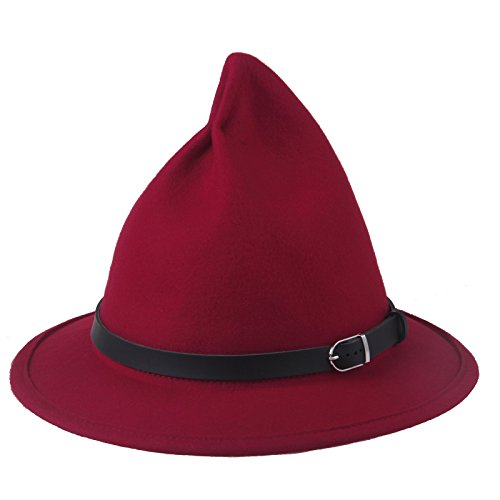 Prefe Women's 100% Wool Belt Fedora Witch Hat Halloween Costume Accessory (Red) -