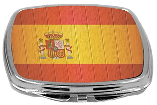 Rikki Knight Compact Mirror on Distressed Wood Design, Spain Flag, 3 Ounce by Rikki Knight