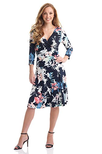 Rekucci Women's Slimming 3/4 Sleeve Fit-and-Flare Crossover Tummy Control Dress (12,Ink Multi Floral) (Dress Knit Ruched)