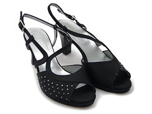 6421 Black 7 Satin Gefahren Swarovski Sandale 8 mm Schwarz Steine cm Osvaldo und Elegante Absatzplattform Estivo wnI8Sqx7Tt