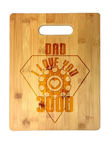 Dad I Love You 3000 Metal Heart Reactor Film Parody Father's Day in Full Color Unity Candle - Wed Laser Engraved Bamboo Cutting Board - Wedding, Housewarming, Anniversary, Birthday, Father's Day, Gift