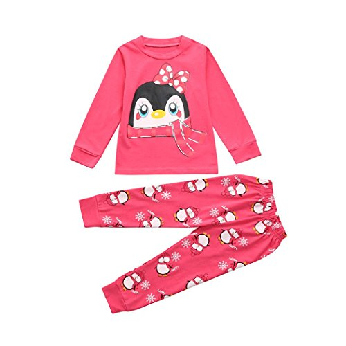 Fineser Little Girls Clothing Set Cute Penguin Print Long Sleeve T-Shirt Tops+Pants Leggings Outfits (Pink, 3T)