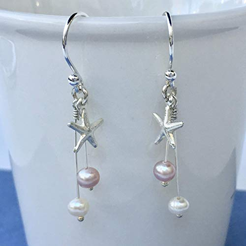 Bridal Pink White Freshwater Pearls Hook Earrings Starfish Charm Sterling Silver Gift Idea For Women