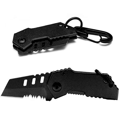 B-2 Bomber Nano Blade Utility Small Pocket Knife - Folding Wallet Knife -Stainless Steel Mini Tactical Knife with Money Clip- Portable Small Folding Knife-Black ()